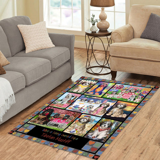 Love is Being Owned Tibetan Mastiff Dog Grey Area Rug