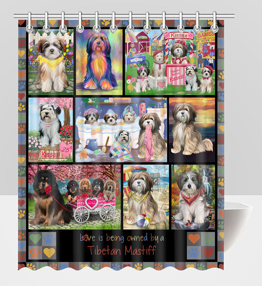 Love is Being Owned Tibetan Mastiff Dog Grey Shower Curtain