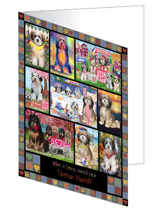 Love is Being Owned Tibetan Mastiff Dog Grey Greeting Card GCD77513