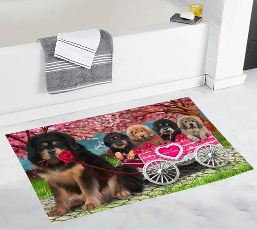 I Love Tibetan Mastiff Dogs in a Cart Bath Mat