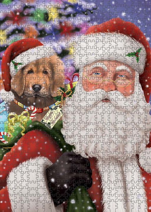Santa Carrying Tibetan Mastiff Dog and Christmas Presents Puzzle with Photo Tin PUZL90368