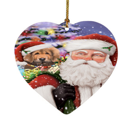 Santa Carrying Tibetan Mastiff Dog and Christmas Presents Heart Christmas Ornament HPOR55897