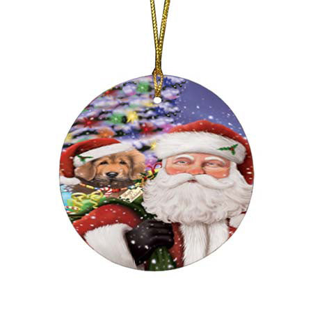 Santa Carrying Tibetan Mastiff Dog and Christmas Presents Round Flat Christmas Ornament RFPOR55897