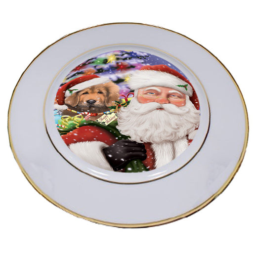 Santa Carrying Tibetan Mastiff Dog and Christmas Presents Porcelain Plate PLT53890