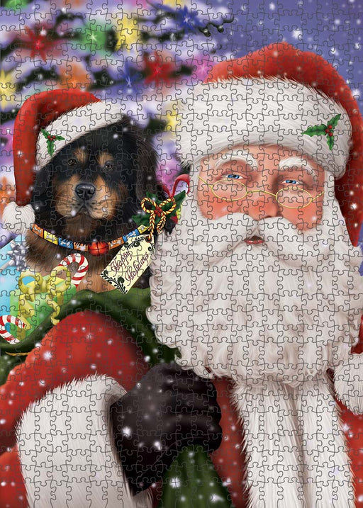 Santa Carrying Tibetan Mastiff Dog and Christmas Presents Puzzle with Photo Tin PUZL90372