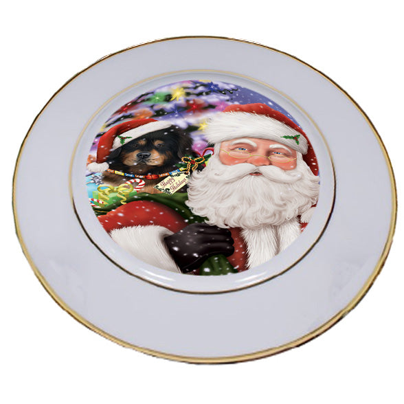 Santa Carrying Tibetan Mastiff Dog and Christmas Presents Porcelain Plate PLT53891