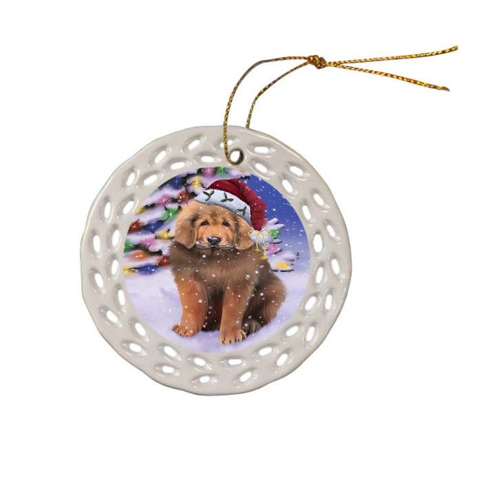 Winterland Wonderland Tibetan Mastiff Dog In Christmas Holiday Scenic Background Ceramic Doily Ornament DPOR56094