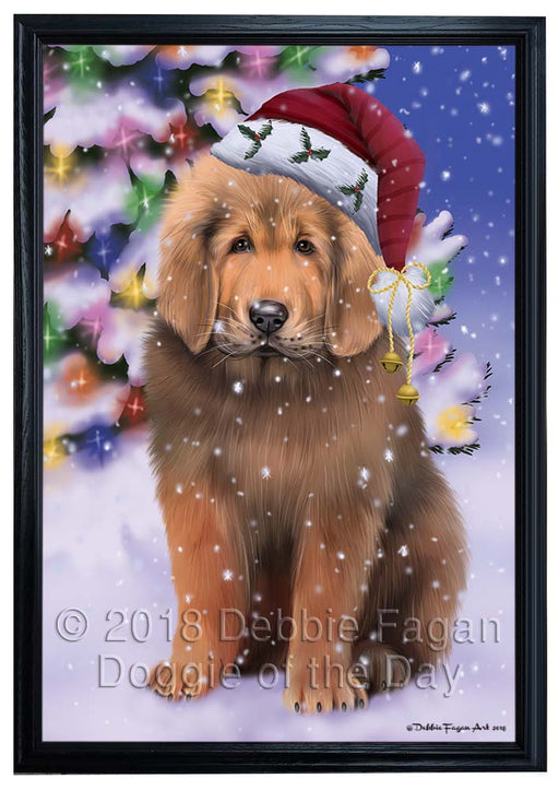 Winterland Wonderland Tibetan Mastiff Dog In Christmas Holiday Scenic Background Framed Canvas Print Wall Art FCVS184595