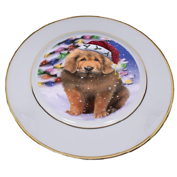 Winterland Wonderland Tibetan Mastiff Dog In Christmas Holiday Scenic Background Porcelain Plate PLT54087
