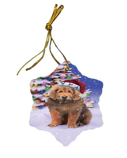 Winterland Wonderland Tibetan Mastiff Dog In Christmas Holiday Scenic Background Star Porcelain Ornament SPOR56094