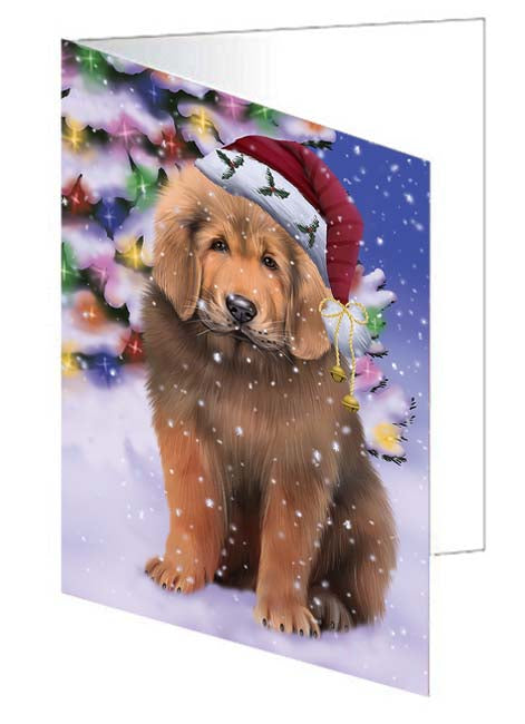Winterland Wonderland Tibetan Mastiff Dog In Christmas Holiday Scenic Background Note Card NCD71729