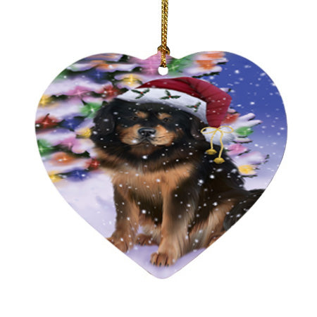 Winterland Wonderland Tibetan Mastiff Dog In Christmas Holiday Scenic Background Heart Christmas Ornament HPOR56095