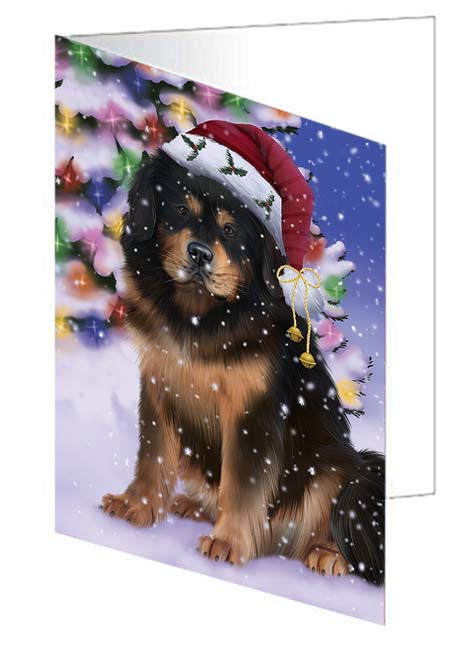 Winterland Wonderland Tibetan Mastiff Dog In Christmas Holiday Scenic Background Note Card NCD71732