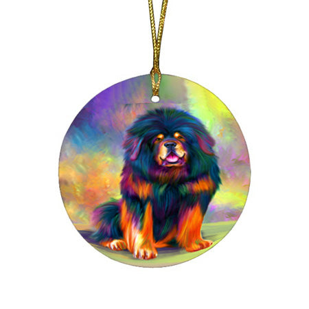 Paradise Wave Tibetan Mastiff Dog Round Flat Christmas Ornament RFPOR56439