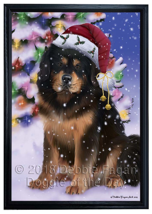 Winterland Wonderland Tibetan Mastiff Dog In Christmas Holiday Scenic Background Framed Canvas Print Wall Art FCVS184612