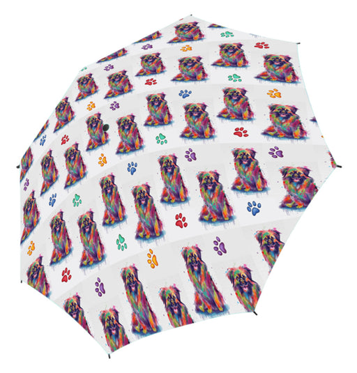 Watercolor Mini Tibetan Spaniel DogsSemi-Automatic Foldable Umbrella