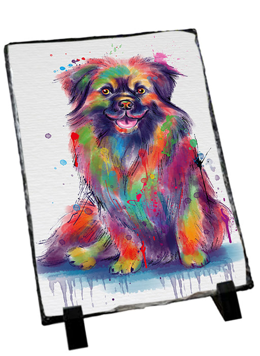 Watercolor Tibetan Spaniel Dog Sitting Photo Slate SLT57483