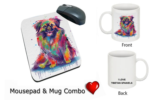 Watercolor Tibetan Spaniel Dog Mug & Mousepad Combo Gift Set MPC52965