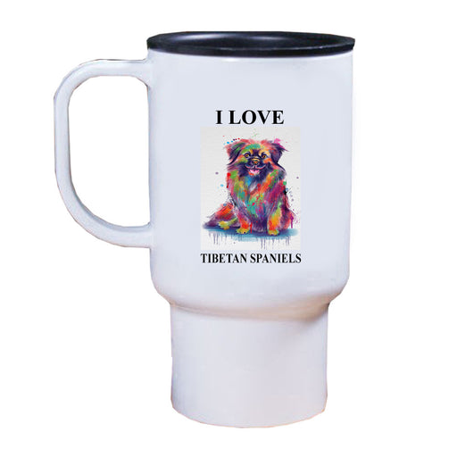 Watercolor Tibetan Spaniel Dog Travel Mug TRAV52807