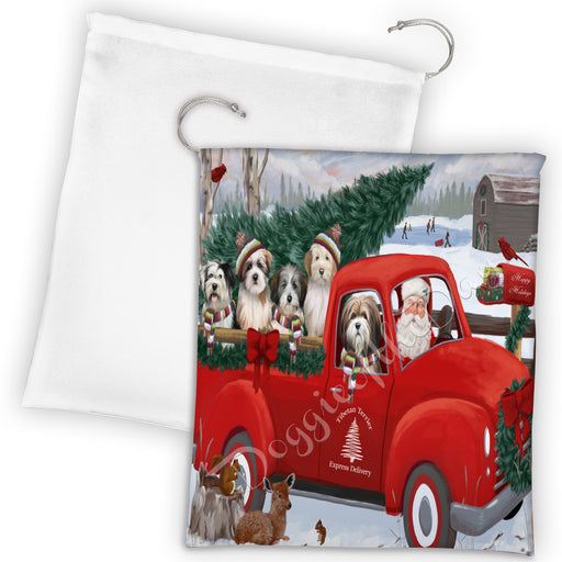 Christmas Santa Express Delivery Red Truck Tibetan Terrier Dogs Drawstring Laundry or Gift Bag LGB48348