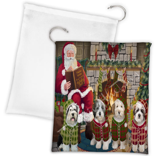 Christmas Cozy Holiday Fire Tails Tibetan Terrier Dogs Drawstring Laundry or Gift Bag LGB48542