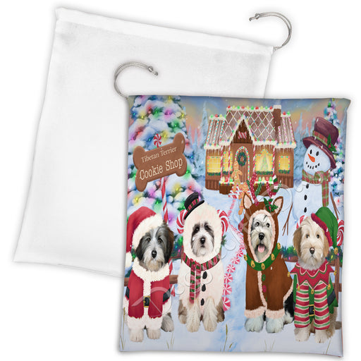 Holiday Gingerbread Cookie Tibetan Terrier Dogs Shop Drawstring Laundry or Gift Bag LGB48642