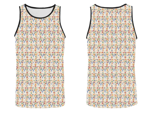 Rainbow Paw Print Tibetan Terrier Dogs Blue All Over Print   Men's Tank Top