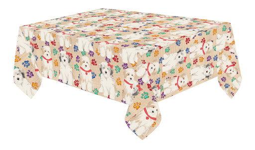 Rainbow Paw Print Tibetan Terrier Dogs Red Cotton Linen Tablecloth