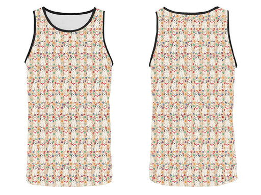 Rainbow Paw Print Tibetan Terrier Dogs Red All Over Print   Men's Tank Top