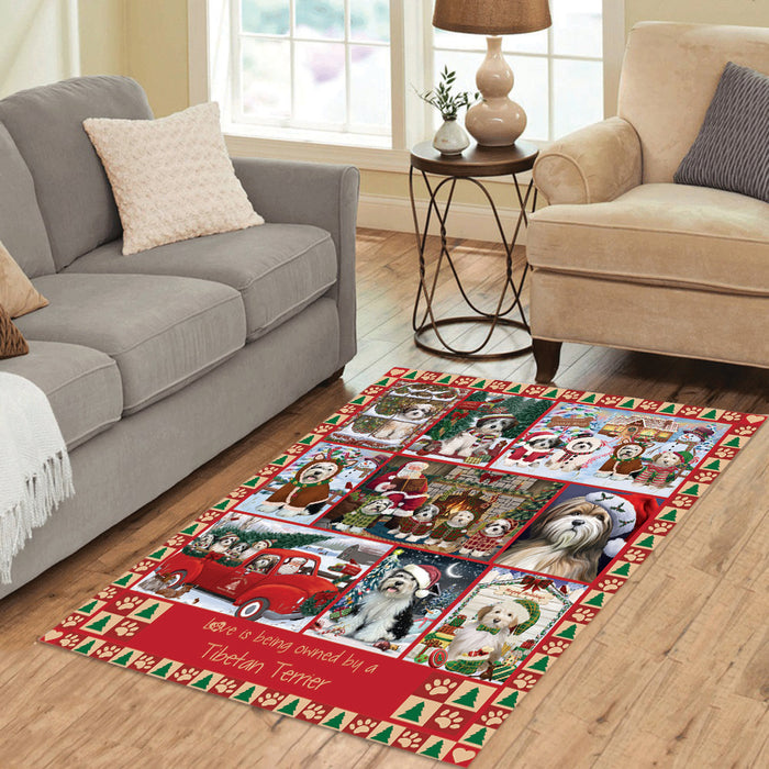 Love is Being Owned Christmas Tibetan Terrier Dogs Area Rug
