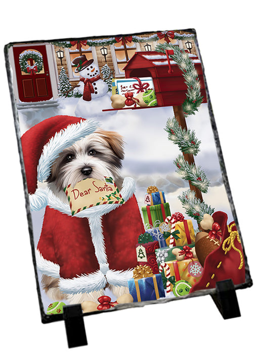 Tibetan Terrier Dog Dear Santa Letter Christmas Holiday Mailbox Sitting Photo Slate SLT57551