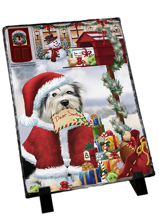 Tibetan Terrier Dog Dear Santa Letter Christmas Holiday Mailbox Sitting Photo Slate SLT57552