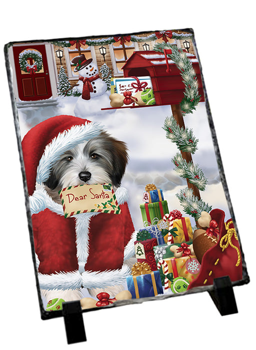 Tibetan Terrier Dog Dear Santa Letter Christmas Holiday Mailbox Sitting Photo Slate SLT57553
