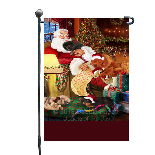 Personalized Tibetan Mastiff Dogs and Puppies Sleeping with Santa Custom Garden Flags GFLG-DOTD-A62674