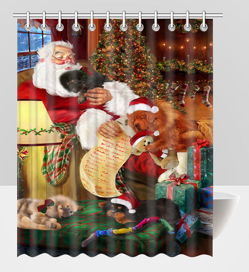 Santa Sleeping with Tibetan Mastiff Dogs Shower Curtain