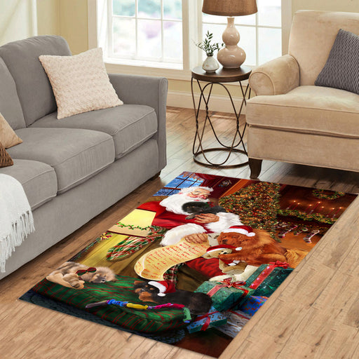 Santa Sleeping with Tibetan Mastiff Dogs Area Rug