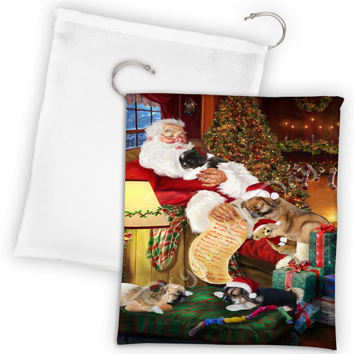 Santa Sleeping with Tibetan Terrier Dogs Drawstring Laundry or Gift Bag LGB48857