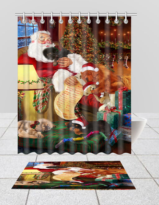 Santa Sleeping with Tibetan Mastiff Dogs  Bath Mat and Shower Curtain Combo