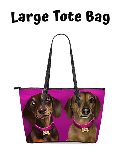 Add Your PERSONALIZED PET Painting Portrait on Euramerican Tote Bag Large