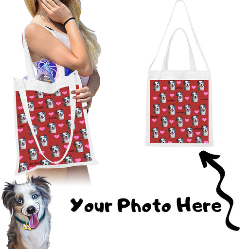 Custom Add Your Photo Here PET Dog Cat Photos on Canvas Tote Bag