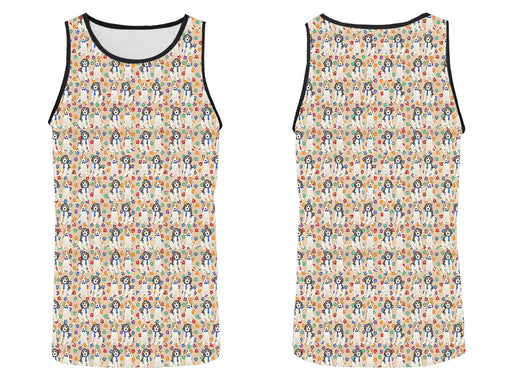Rainbow Paw Print Treeing Walker Coonhound Dogs Blue All Over Print   Men's Tank Top
