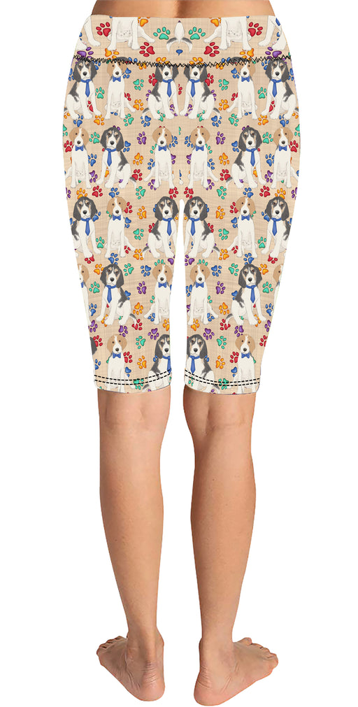 Rainbow Paw Print Treeing Walker Coonhound Dogs Blue Knee Length Leggings