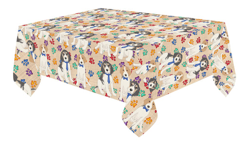 Rainbow Paw Print Treeing Walker Coonhound Dogs Blue Cotton Linen Tablecloth