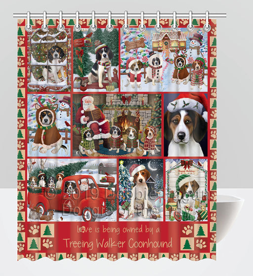 Love is Being Owned Christmas Treeing Walker Coonhound Dogs Shower Curtain