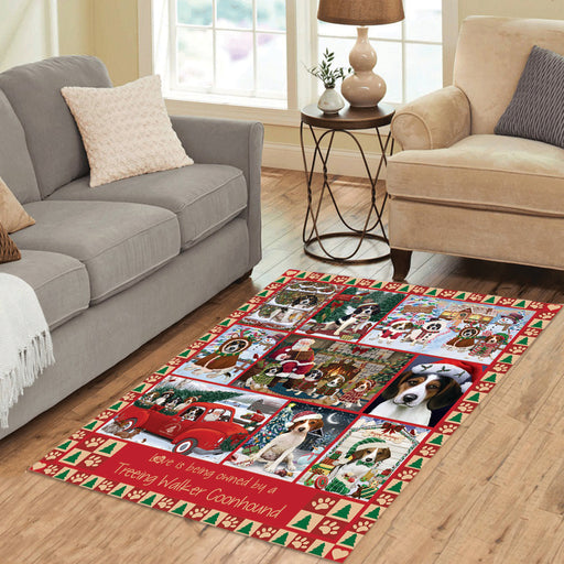 Love is Being Owned Christmas Treeing Walker Coonhound Dogs Area Rug