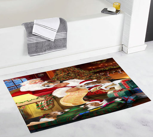 Santa Sleeping with Treeing Walker Coonhound Dogs Bath Mat