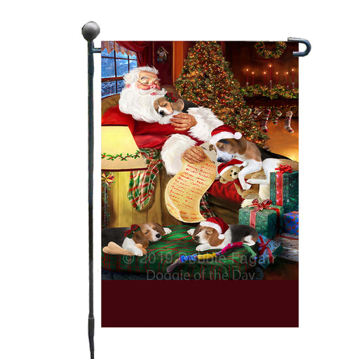 Personalized Treeing Walker Coonhound Dogs and Puppies Sleeping with Santa Custom Garden Flags GFLG-DOTD-A62675
