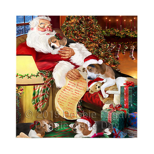 Santa Sleeping with Treeing Walker Coonhound Dogs Square Towel