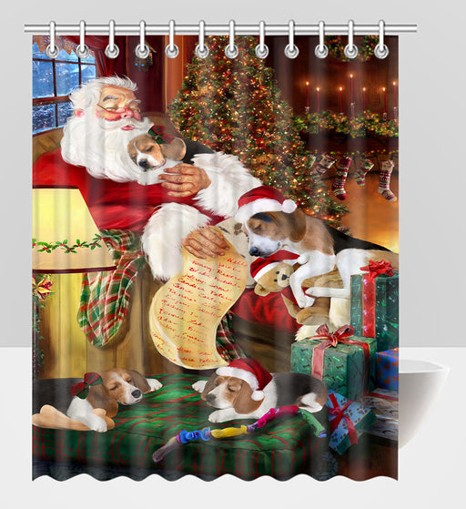 Santa Sleeping with Treeing Walker Coonhound Dogs Shower Curtain