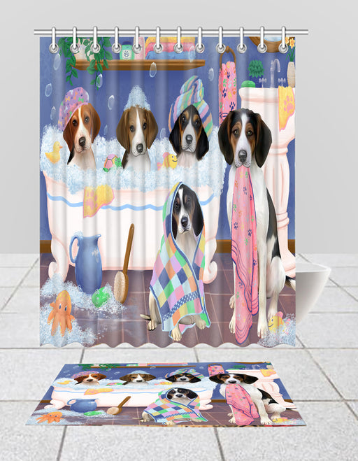 Rub A Dub Dogs In A Tub Treeing Walker Coonhound Dogs Bath Mat and Shower Curtain Combo
